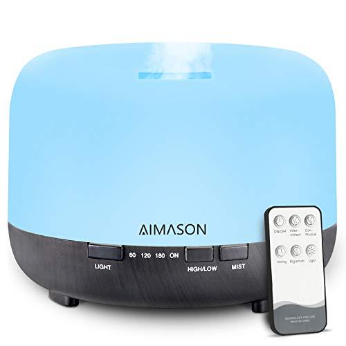 Aroma Diffuser 500ml AIMASON Ultraschall Luftbefeuchter Fernbedienung Aromatherapie für ätherische öle mit 7 Farben LED, BPA-Frei für Kinderzimmer Schlafzimmer Raum Büro Yoga Spa