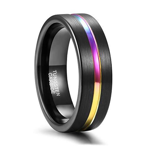 Easunny Ring Herren Damen Hochzeitsband Trauringe Verlobungsringe gebürstetem Wolfram Schwarz und Regenbogenfarbe(7mm,57 (18.1))