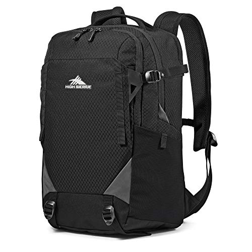 High Sierra Takeover Kids College Adult School Backpack Book Bag Travel Laptop Bag with Drop Protection Pocket, Tablet Sleeve, and 360 Reflectivity, Black