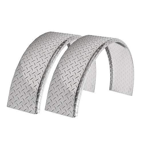 ToughGrade 2-Pack Aluminum Diamond Plate Round Top Trailer Fender 10' X 36' X 18'