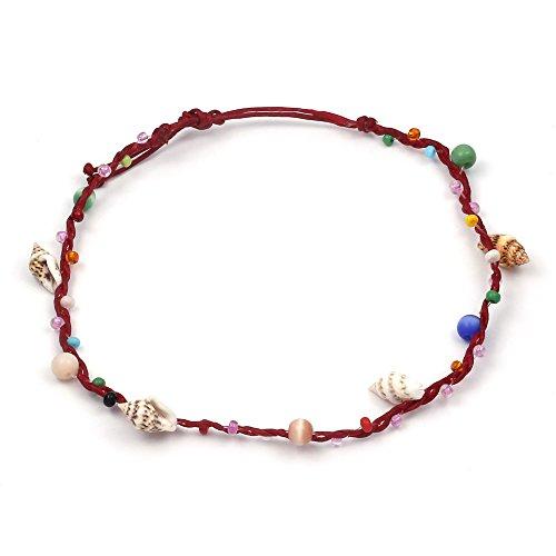 Enkelbandje, veelkleurige parels, handgemaakt, met schelpen bezet waskoord, verstelbare sluiting.