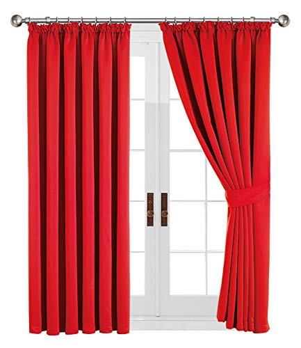 Aspire Homeware Pair of Thermal Blackout Tape Top Curtains, Pencil Pleat Insulated Blackout Curtains, Interwoven Lined with Two Tie Backs (RED, 66' Width X 54' Drop (168 x 137 CM))