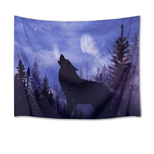 HVEST Wolf Tapestry Wild Predator Howl in Jungle Wall Hanging Full Moon Night Scenery Wall Tapestries for Bedroom Living Room Dorm Wall Decor,60Wx40H inches