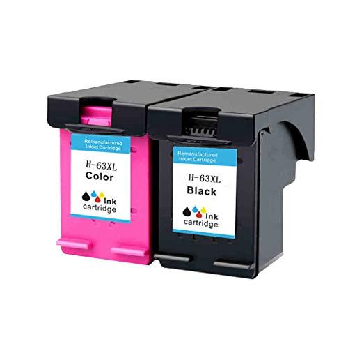 Compatible con los Cartuchos de Tinta para HP 63XL Officejet 2130 3630 3830 4520 4650 Impresora de inyección de Tinta en Color,Black Color Set