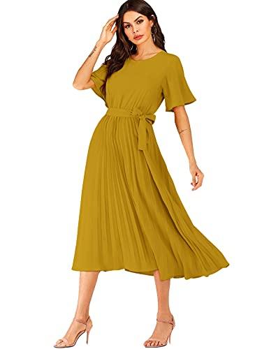 Milumia Women's Elegant Belted Pleated Flounce Sleeve Long Dress Dark Yellow XX-Large