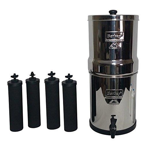 Berkey BK4X 4-bb Big Berkey Wasser Filtersystem, aus Edelstahl mit 4Elemente Filter Schwarz