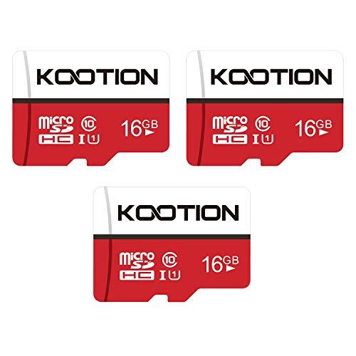 Kootion MicroSDHC 16GB, Micro SD Karte 16GB 3er Stücke MicroSDHC Speicherkarte UHS-I bis zu 85 m/s SD TF Memory Karte, Klasse 10, U1 16GB * 3er Pack