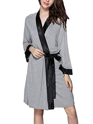 Unisex paar ochtendjas lente, herfst, heren en dames, nachthemd, meisjes, vrije tijd, modieus, elegant pyjama lange mouwen, V-hals met riem pyjama kimono