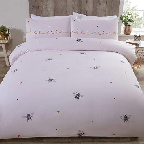 Rapport Bee Mine Bees & Hearts on a Pink Duvet Cover, Bedding Set, Multi, Double