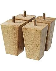 Vierkante vervangende voeten, 4 massief houten meubelpoten, sofa ondersteuning benen, houten kast voet, vervanging meubels voeten, voor allerlei meubels, recht, hout kleur (18cm/7in)