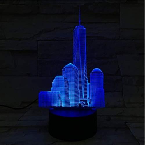 DFDLNL USB 3D LED Veilleuse World Trade Center Atmosphère Lampe Décoration RVB Enfants Bébé Cadeau Bâtiments Célèbres Lampe De Table De Chevet Néon
