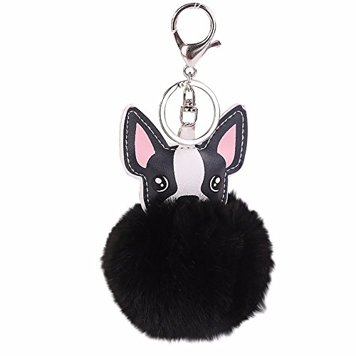 Janly Clearance Sale Womens Keychains, 8CM Cute Dog Keychain Pendant Women Key Ring Holder Pompoms Key Chains, Jewelry & Watches for Christmas Valentine's Day (Black )