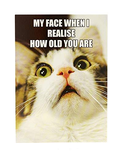 Funny Humorvolle Cat Geburtstagskarte Meme–wie alt?