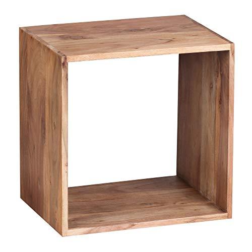 FineBuy Standregal Massivholz Akazie 43,5 cm Cube Regal Design Holzregal Naturprodukt Beistelltisch Landhaus-Stil dunkel-braun Wohnzimmer-Möbel Unikat Echtholz Couchtisch viereckig Anstelltisch