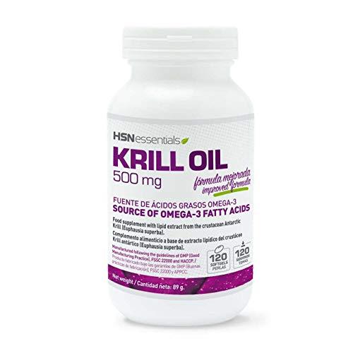 Krill Oil de HSN | Aceite de Krill 500mg, Fuente de Omega 3 (DHA, EPA), Con Astaxantina y Fosfolípidos - Potente Antioxidante - materia prima RIMFROST, Sin Gluten, Sin Lactosa, 120 perlas