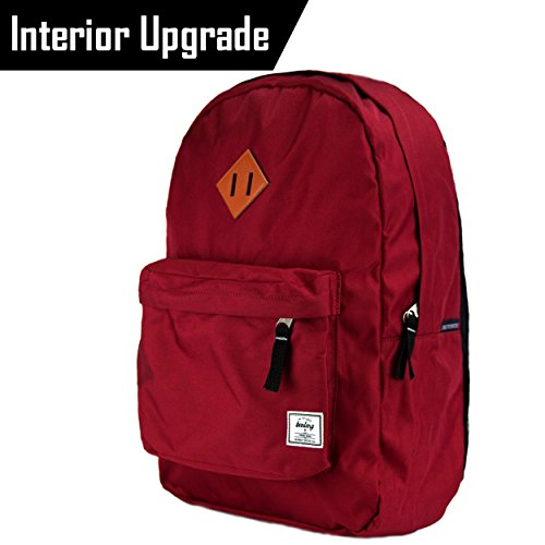 Benteng Classic Lightweight Hiking Daypack School Bag Rucksack Travel Backpack, Red
