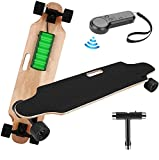 elifine Youth Electric Skateboard Electric Longboard with Wireless Remote Control, 12 MPH Top Speed, 10 Miles Range, 7 Layers Maple Longboard for Adult (Black)