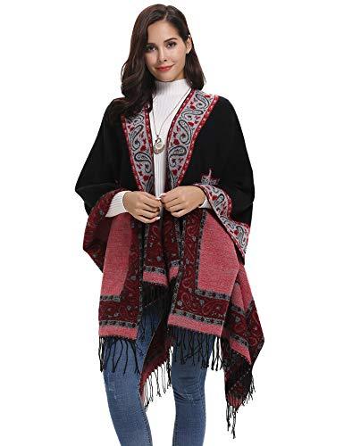 Abollria Ponchos y Capas de Punto Elegante Invierno Chal Vintage para Mujer Mantón Bufanda Larga