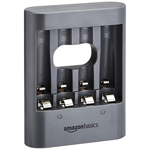 Amazon Basics - Cargador de pilas USB, color negro