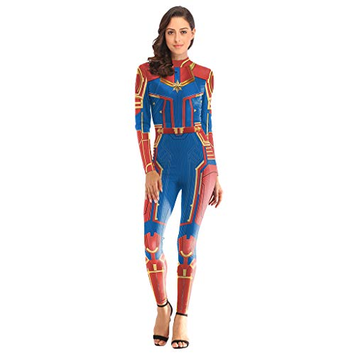 GanSouy Avengers: Endgame Movie Captain Marvel Bodysuit Spandex Jumpsuits Captain Marvel Kostüm Damen Weihnachten Halloween Show Cosplay Kostüm,Captain Marve-M