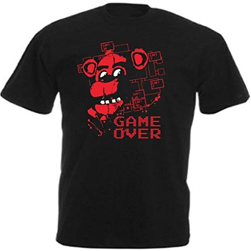 Freddy Fazbear Game Over FNAF Gaming T Shirt Fashion Short Sleeves Cotton Tops Clothing, Black