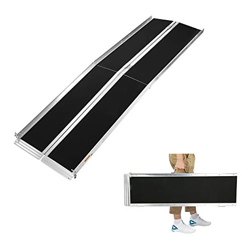 8Ft Ramp for Wheelchair, Lightweight and Easy to Transport, Multi-fold Wheelchair Ramps, w/Anti-Slip Carpeted Stairs, Mobility Handicap Suitcase for Doorways, Stairs, Mobility Scooter, Porch Maryland