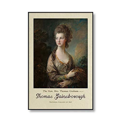 Vintage Thomas Gainsborough retrato carteles e impresiones pinturas hogar sin marco pinturas decorativas en lienzo A2 40x60cm