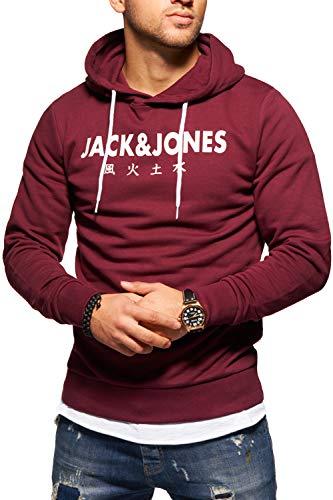 JACK & JONES Herren Hoodie Kapuzenpullover Sweatshirt Pullover Print Streetwear (Large, Port Royale)