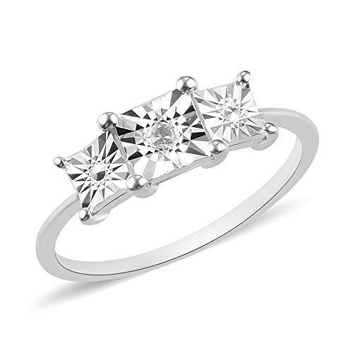 TJC White Diamond Trilogy Ring for Women Gemstone Engagement Jewellery in 925 Sterling Silver Size R