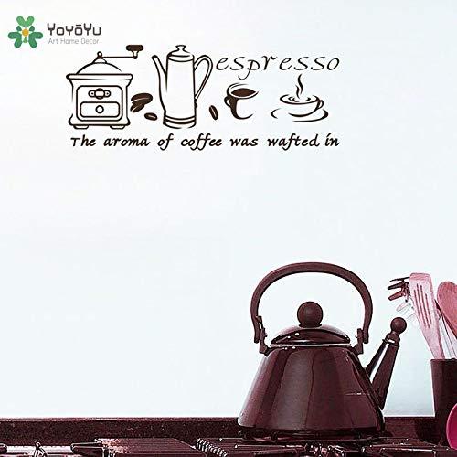 Muurtattoo vinyl art home decor stciker inspirerende koffie espresso quote poster voor keuken cafe re50x132cm