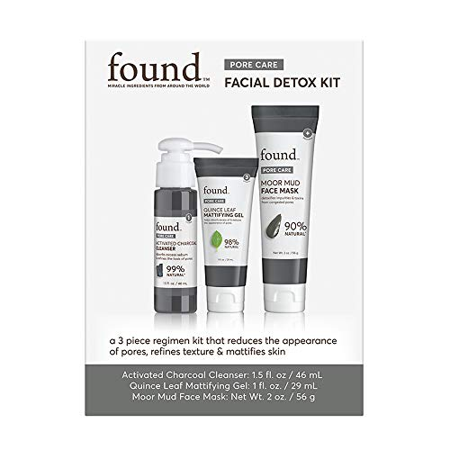 FOUND Skincare 3-Piece Pore Care Facial Detox Kit: Includes Activated Charcoal Cleanser, Quince Leaf Mattifying Gel, and Moor Mud Face Mask