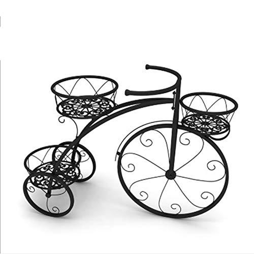MMSM Tres Capas de Soporte de la Flor del Metal, Forma de Bicicletas Planta de la Flor Cubierta y Qutdoor Arte Europeo Soporte Retro, Conveniente para el Dormitorio Balcón Sala,Negro