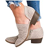 soyienma Boots for Women,Women's Round Toe Waterproof Lace up Work Combat Boots Low Heel Ankle Booties Khaki