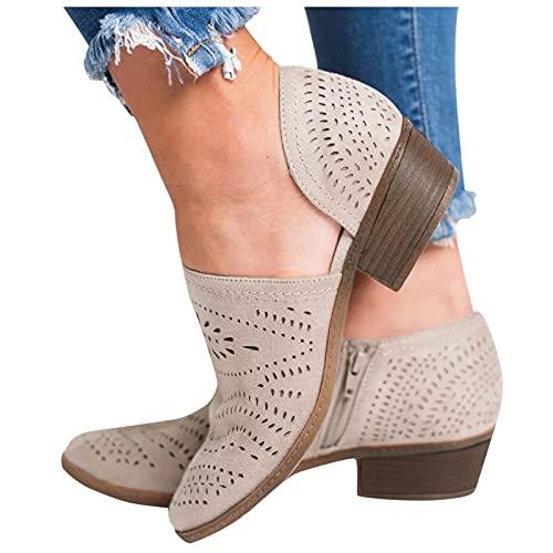 Beudylihy Zapatos individuales para mujer, para el tiempo libre, botas cortas, con tacón bajo y cremallera, color, talla 40 EU