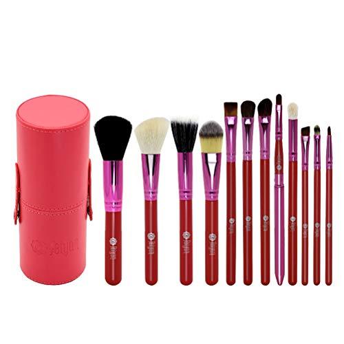 Pinceau De Maquillage 12 Ensembles Professionnels, Poignée En Bois De Fibre Portative Pinceau De Maquillage Pour Les Yeux Et Boîte De Brosse,Red