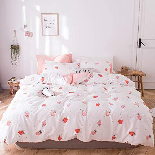 GETIYA - Juego de ropa de cama para niños (135 x 200 cm, reversible, algodón), color rosa y blanco