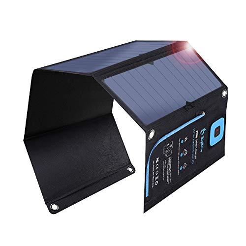 BigBlue 28W ソーラーチャージャー 電流計 ソーラー 充電器 2USBポート ソーラーパネル 折り畳み式 防水 カラビナ付き 地震 災害時 アウトドア iPhone iPad Android各種対応