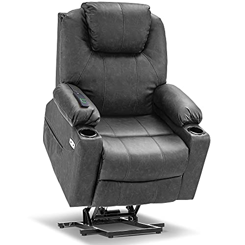 Mcombo Electric Power Lift Recliner Chair Sofa with Massage and Heat for Elderly, 3 Positions, 2 Side Pockets and Cup Holders, USB Ports, Faux Leather 7040 (Medium, Gray)