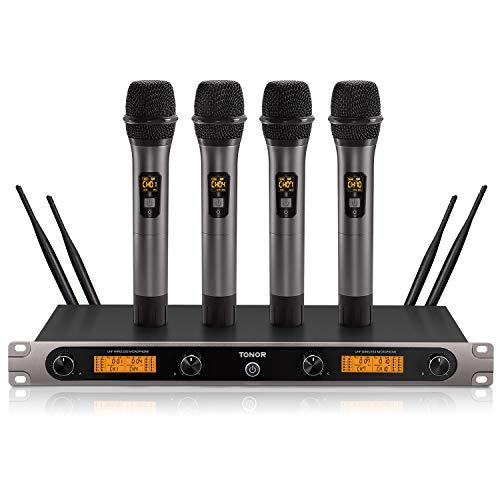 Sistema UHF de Micrófono Inalámbrico, TONOR Set de Karaoke con 3 Canales 4 Micrófonos para Fiestas, KTV, Iglesia, Bodas, Uso de DJ, Aire Libre, Actuación en el Escenario 60m (TW-820 Plus)