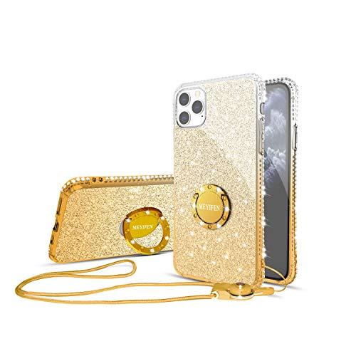 MEYIFEN Cover iPhone 11 PRO Max con Anello,Sottile Trasparente Brillanti Glitterata Diamanti,Case con Supporto Antiurto Protettivo paraurti,Custodia Apple iPhone 11 PRO Max 6.5 con Cordino,Giallo