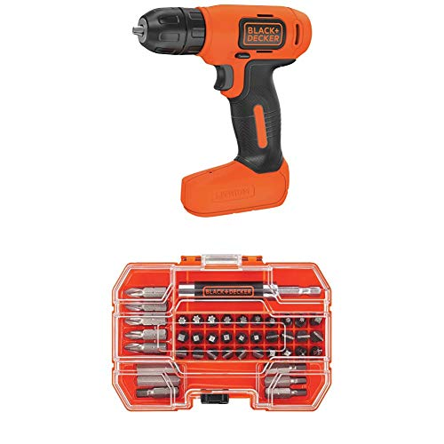 black decker electric drills BLACK+DECKER 8V MAX Cordless Drill/Driver (BDCD8C) with BLACK+DECKER BDA42SD 42-Piece Standard Screwdriver Bit Set