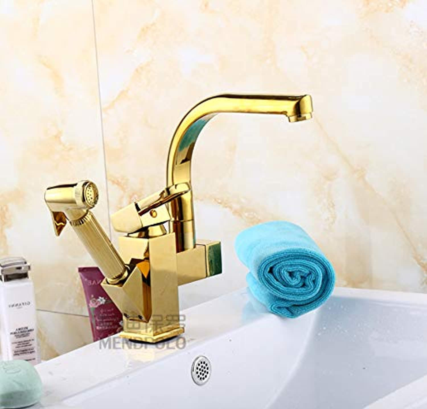 ROKTONG Taps Taps Taps All-Copper Square Single-Hole Pull-Out Basin Faucet Faucet Pull-Up Telescopic Hot And Cold Faucet