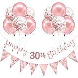 Roségold 30. Geburtstag Dekoration für Frauen Mädchen, Happy 30. Geburtstag Banner Luftballons, Dreieck Flagge Banner für 30 Jahre alte Geburtstagsfeier Dekorationen Lieferungen