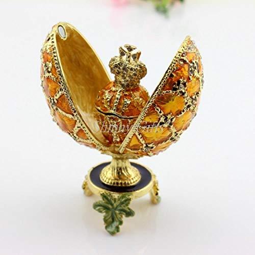 MegOK Birmingham Egg Decoration Box Ei Ei Easter Alloy Egg Jewelry Box Faberge Egg Box, Gold