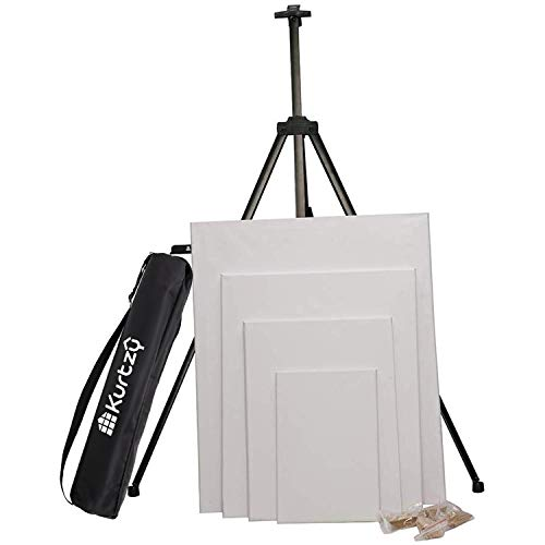 Kurtzy Professional Tripod Display Telescopic Stand Artist Painting Sketching Easel with Carry Case and 4 Size Plain Canvas Board