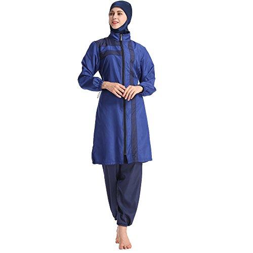 Frauen Badeanzug Set Muslim Bademode bescheidene islamische Damen Burkini Badeanzug Plus Size Beachwear Burkini (2XL, Blau)