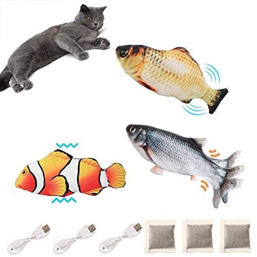 BangShou 3Pezzi Pesce Elettrico Giocattolo Catnip Giocattoli per Gatti, USB Elettrico Giocattolo Peluche, con Catnip per Gatto per Giocare, Mordere, Masticare e Calciare