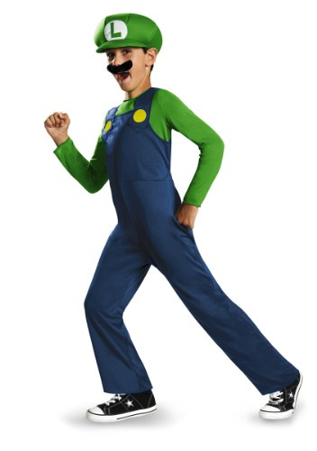 Official Nintendo Luigi Costume for Boys, green and blue, in 3 Sizes. Mario also available.