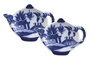 """HIC Harold Import Co. YK-404B/2 Harold Import Co HIC Willow Tea Bag Holder Caddy, Fine-Quality Porcelain, 3.5-Inches, Set of 2, 4.5"""" L x W x .75"""" H, Blue/White (B06XTGFC2Q) 
