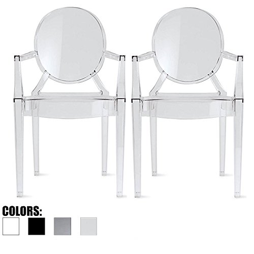 2xhome Set of 2 Clear Modern Contemporary Ghost Chairs Chair with Arms Molded Acrylic Plastic Mirrored Furniture Dining Retro for Writing Desk Dining Living Bedroom Outdoor Vanity Accent